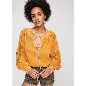 Free People Embroidered Peasant top - with flaw